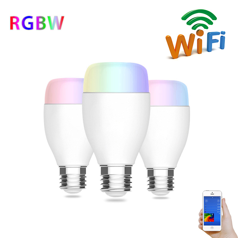 Brightness 6W RGB E27 LED Bulb Light Stage Lamp Wireless WiFi Smart LED Bulb 6W 110V For IOS Android Alexa Voice Control new dc5v wifi ibox2 mi light wireless controller compatible with ios andriod system wireless app control for cw ww rgb bulb