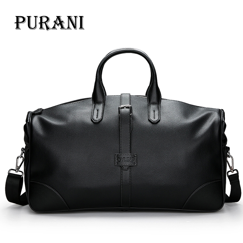 PURANI Men Travel Bags Leather Carry on Luggage Bags Men Duffel Tote Bags Handbag Travel Large Capacity Weekend Bag Overnight