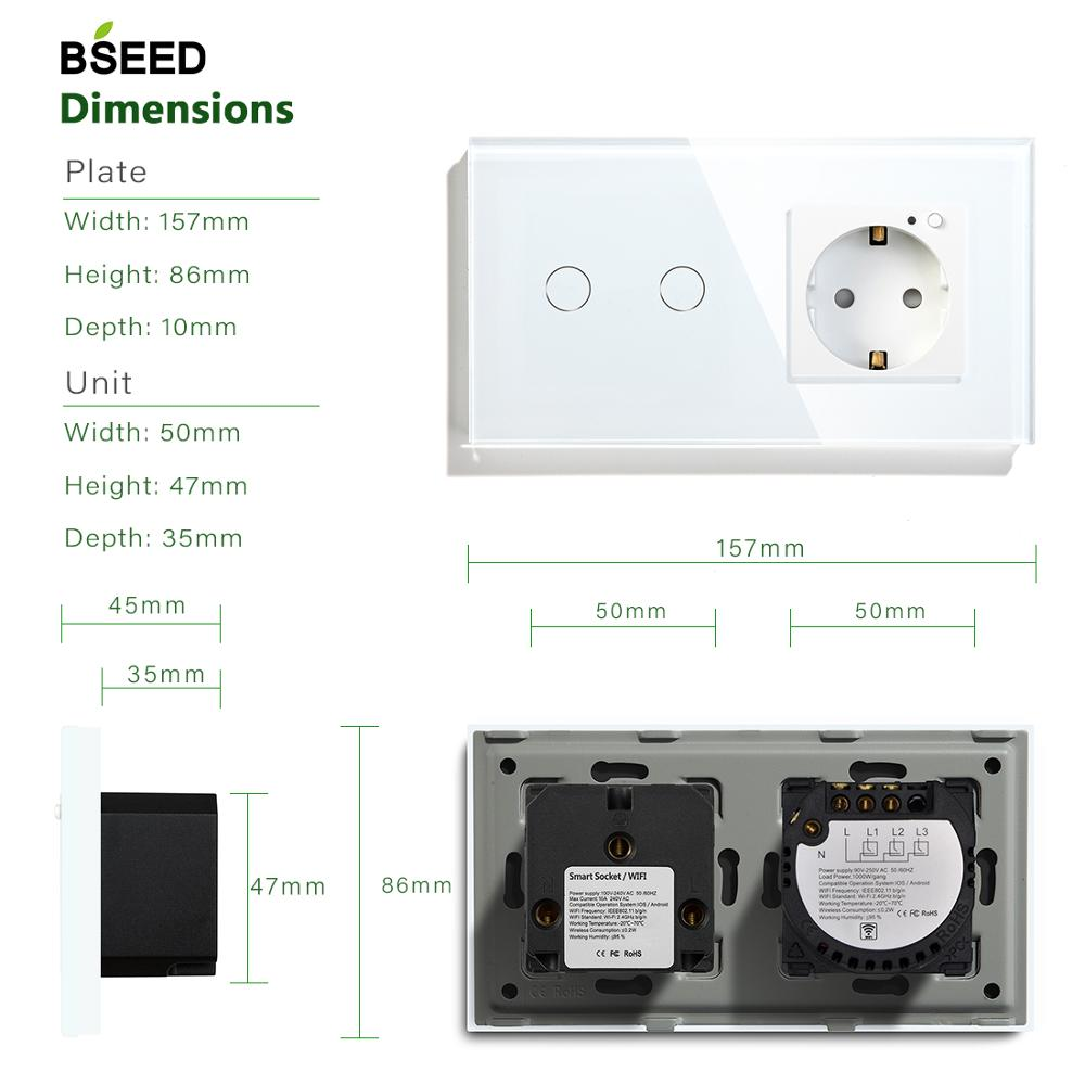 Image 5 - BSEED 16A Wifi Touch Switch 2 Gang 1 Way EU Standard EU Socket With 3 Colors Crystal Glass Panel Smart Switch-in Switches from Lights & Lighting