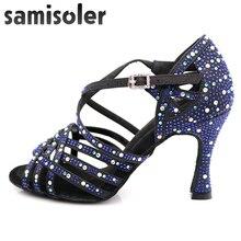 Samisoler Latin dance shoes zapatos de baile Latina mujer black satin dark blue rhinestones ladies salsa party ballroom shoes цена