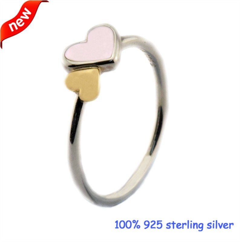2016 Summer Jewelry Luminous Hearts Feature Ring With 14K Real Gold Bague Femme Rings For Women 925 Sterling Silver Ring Women  (2)