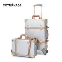 COTRUNKAGE 2 Pcs Silver Retro Pu Leather Suitcase Women Trunk Vintage Luggages Girls Rolling Luggage Set with 13 Cosmetic Case