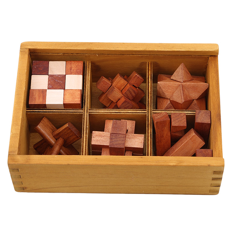 6 Pcs Wooden Kong Ming Lock Puzzles Popular Toy Intelligence Training Puzzle 3D Interlocking Puzzle Games Toys For Children