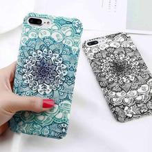 Luminous Flower Phone Case For iPhone 7 Plus Mandala Pattern Slim Matte PC Back Cover For iPhone XSMAX XR XS X 8 7 6 6S Plus scenery pattern protective pc back case cover for iphone 6 plus black multi colored