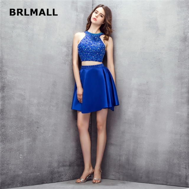 776227dc8d7 2018 Crop Top Homecoming Dresses Royal Blue Satin Crystal Mini Two Piece  Plus Size Custom Made Graduation Gowns