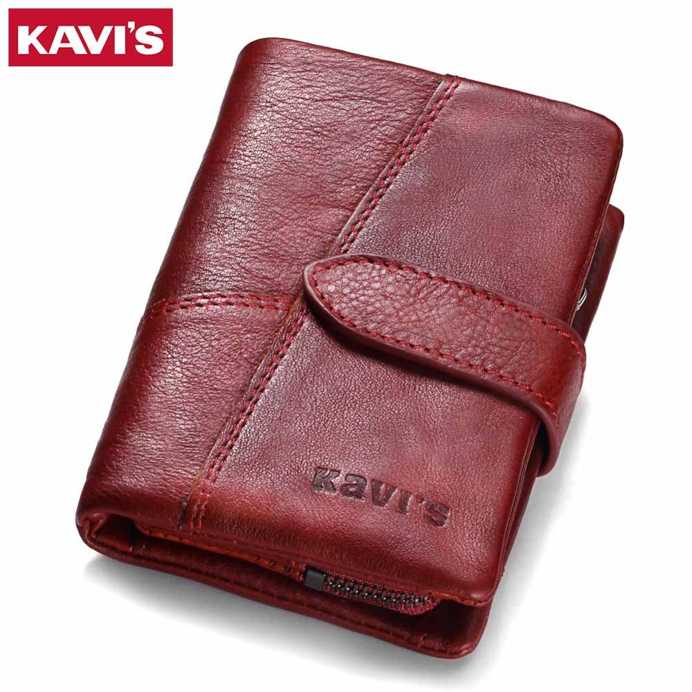 KAVIS 2018 cuero genuino mujeres de la carpeta y monederos monedero femenino pequeño Portomonee Rfid Wallet Lady Perse para niñas dinero bolsa