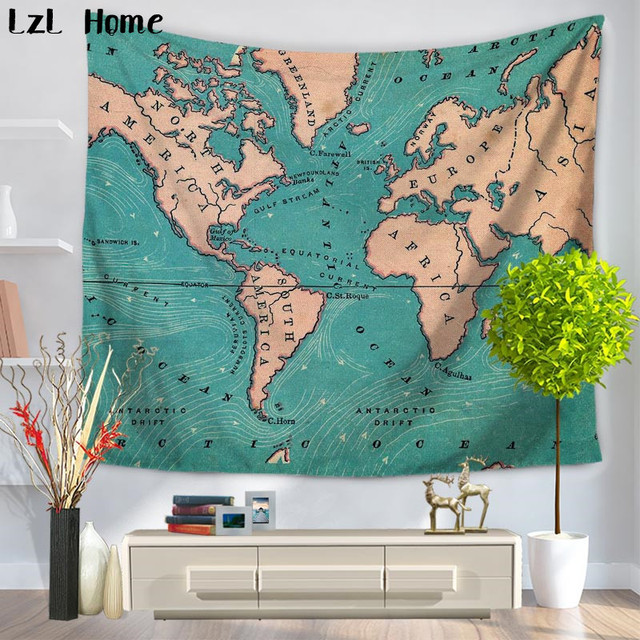 Lzl home poster used look wall picture decoration tapestry globe lzl home poster used look wall picture decoration tapestry globe continents atlas world map wall hanging gumiabroncs Image collections