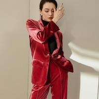 Gold velvet 2 pieces sets blazers suits female fashion vintage style blazers + pants sets 2018 autumn new pant suits gx1360
