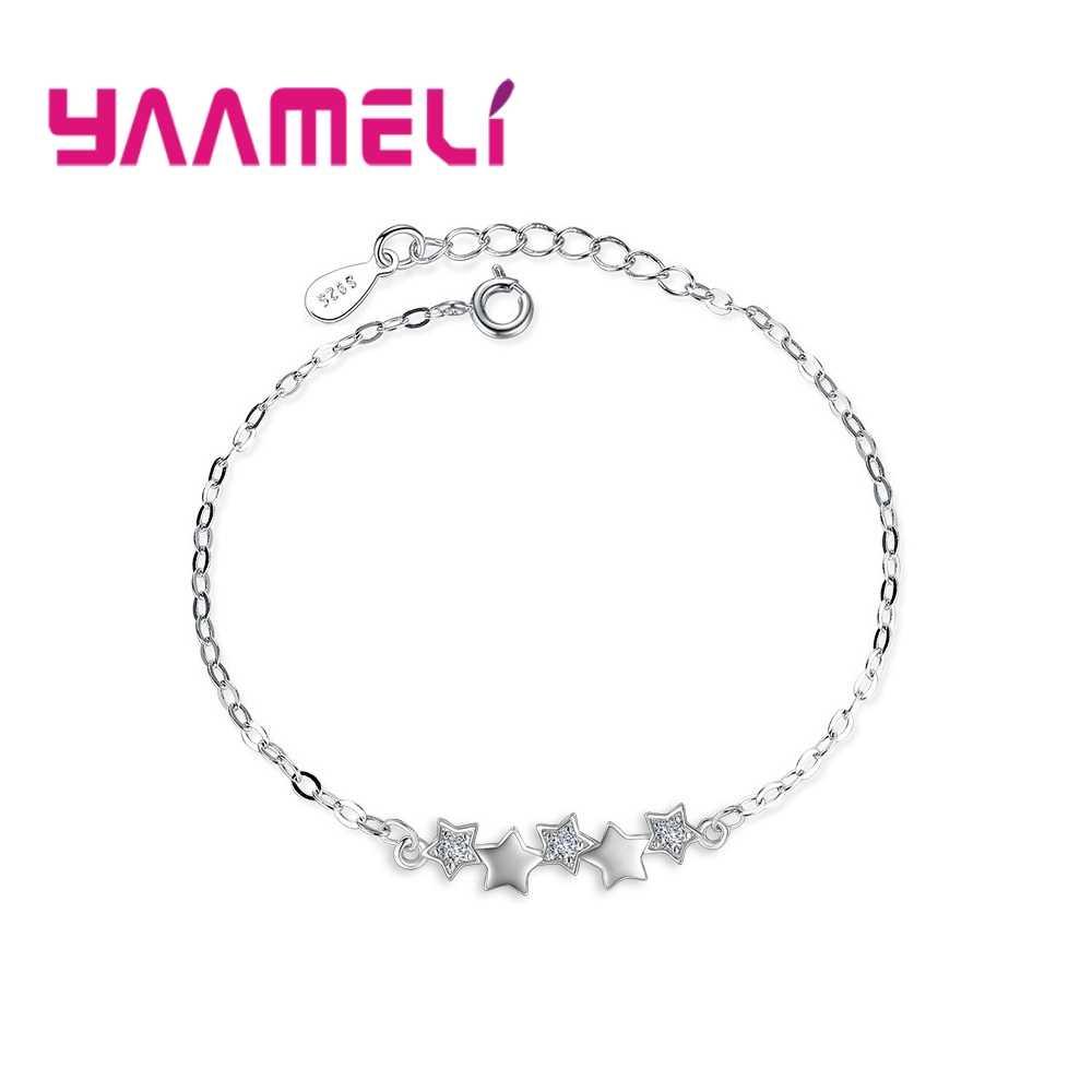Wysokiej jakości 925 srebro bransoletka austriackie kryształowe gwiazdy Charms kobiety dziewczyny bransoletki biżuteria ładne prezenty świąteczne
