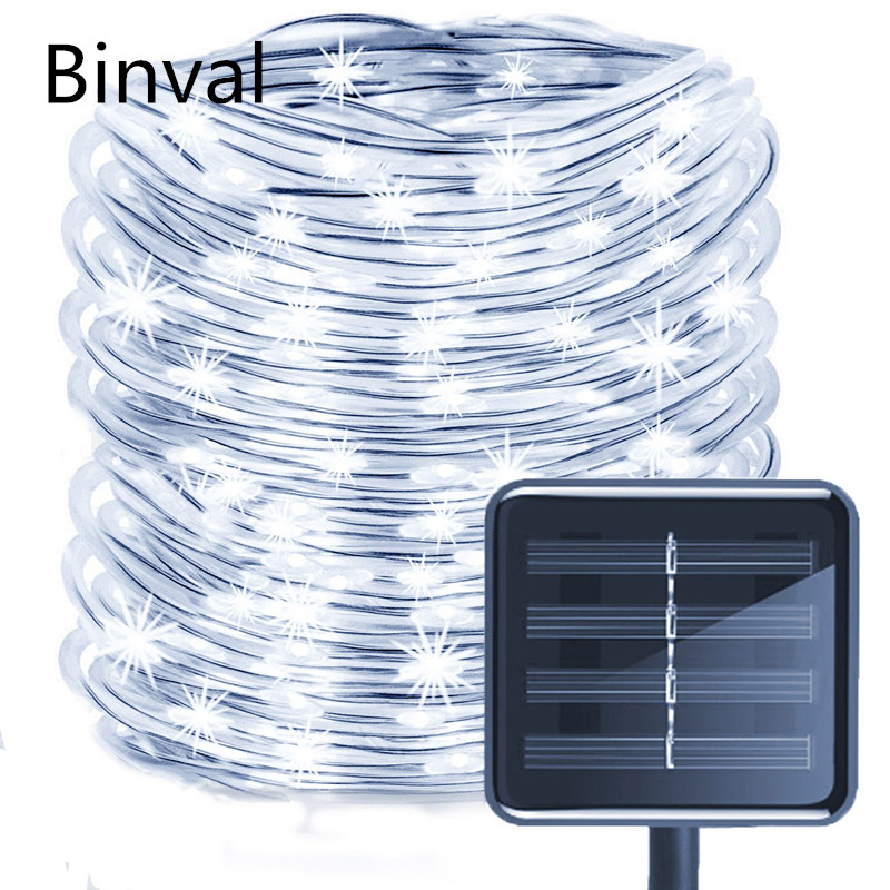 Binval 120 LEDs Solar Powered LED String Rope Lights Outdoor Garden Party Lighting Solar Rope String Lights Waterproof Lights