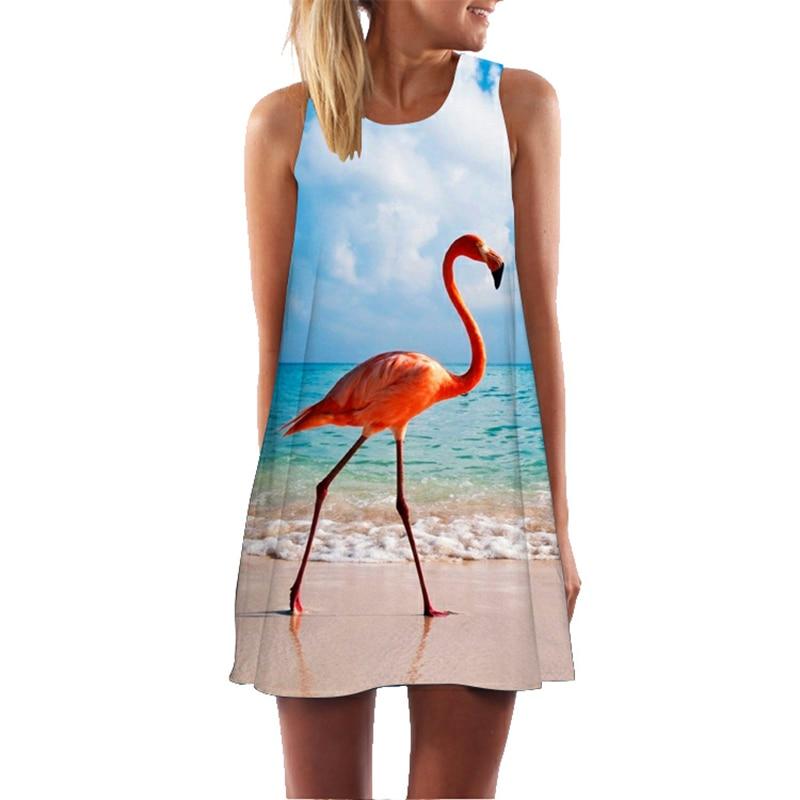 1732d879d5 Fashion Sleeveless Dress Flamingo Print Mini Tunic 2019 Sexy Vestidos De  Fiesta Party Dresses Women Summer