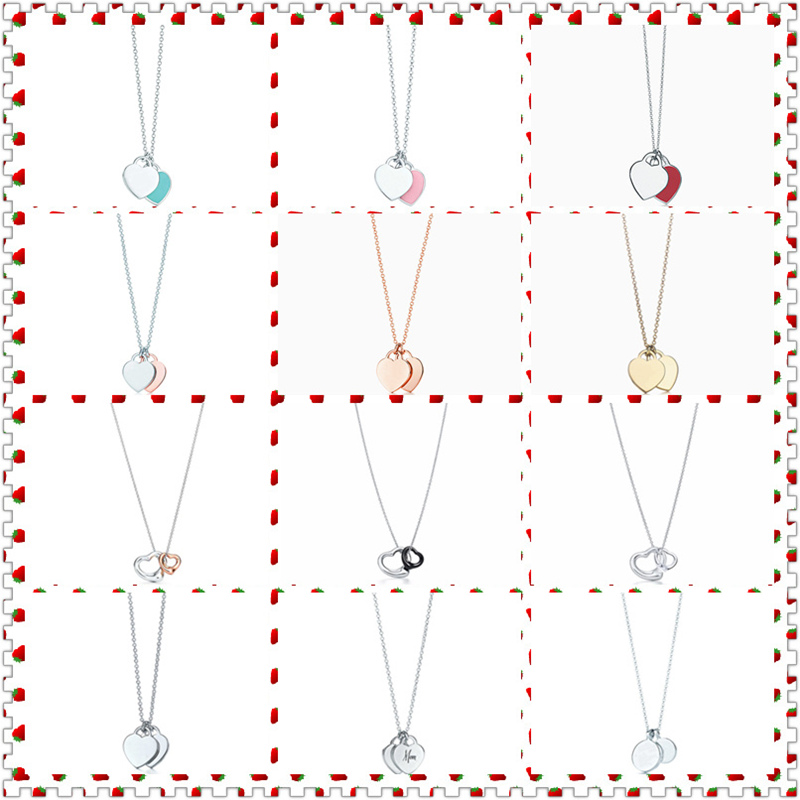 Original 100% S925 Sterling Silver Double Heart-Shape Open Heart Rounded Pendant Necklace Women Fine High-End jewelry