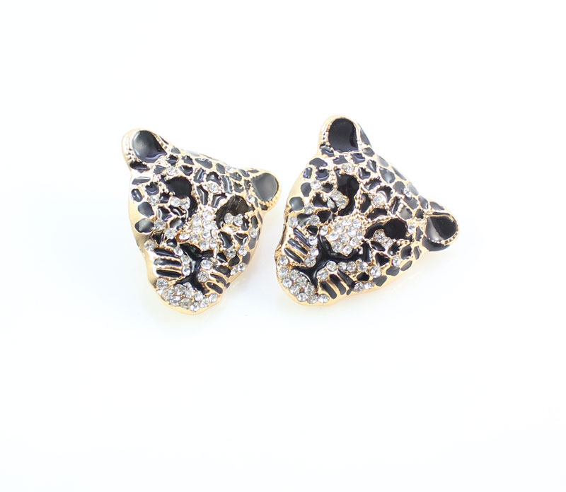Cool Leopard Head Bracelet Earrings Ring Necklace Set para mujeres - Bisutería - foto 4