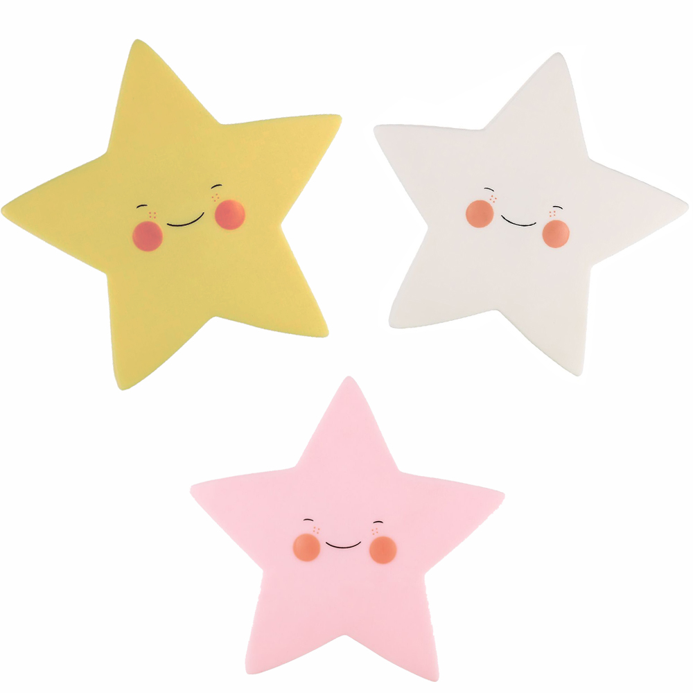 LumiParty LED Night Light Creative Smile Face Star Soft Nursery Lamp for Kids Room Decorations Mini Indoor Lighting for Baby