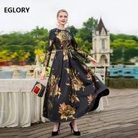 4XL!Top Quality New Plus Size Maxi Gown Dress 2018 Autumn Vestidos De Festa Women Golden Flower Print Vintage Long Dress Femme