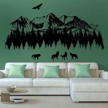 Woodland Wall Decals Mountain Wolves Art Nursery Decor Natural Landscap Baby Room For Bedrooms 3120