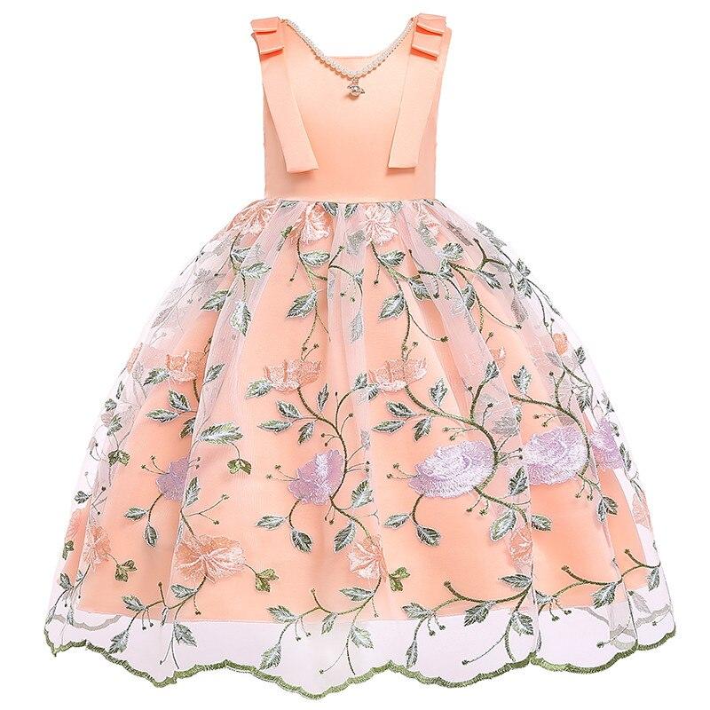 769b12f87 Comprar Los niños vestidos de las niñas princesa vestido de novia bordado  vestido de niña de flor de seda adolescente niña vestido de fiesta ropa de  los ...