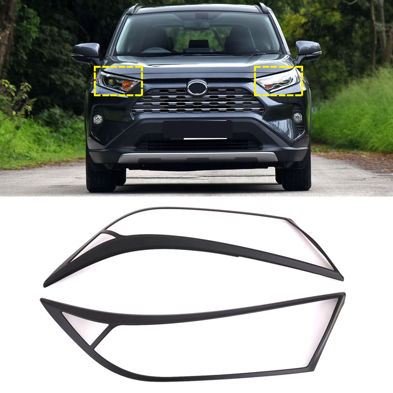 Image 3 - Auto Accessories ABS Front HeadLight Lamp Eyelind Decoration Cover Trim  2pcs  for Toyota RAV4 2019 2020-in Roof Racks & Boxes from Automobiles & Motorcycles