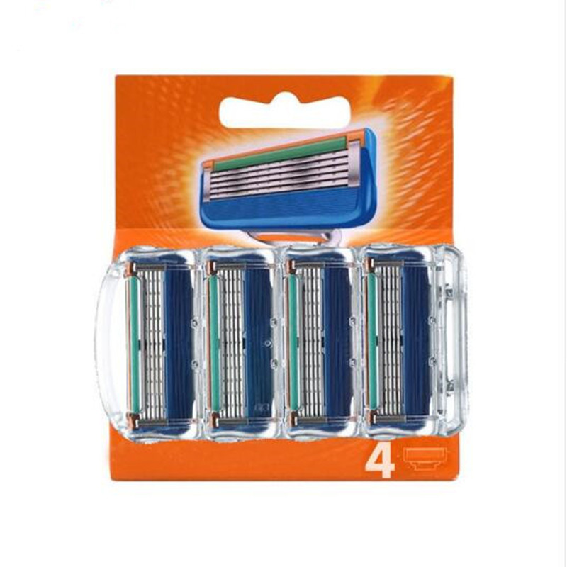 4pcs/pack Razor Blade For Men Face Care Shaving Safety 5layers Stainless Steel Shaver Cassette Fit For Gillettee Fusione Handle