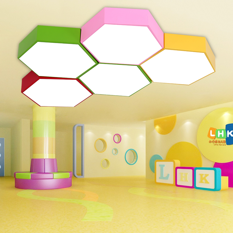 creative color hexagon study led ceiling lamp kindergarten ceiling lights training center clothing store office LED lamps indoor