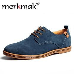 Merkmak Suede Men Leather Shoes Solid Lace-up Big Size 38-48 Casual Shoes Men's Flats Comfortable Dress Shoes Male Soft Footwear