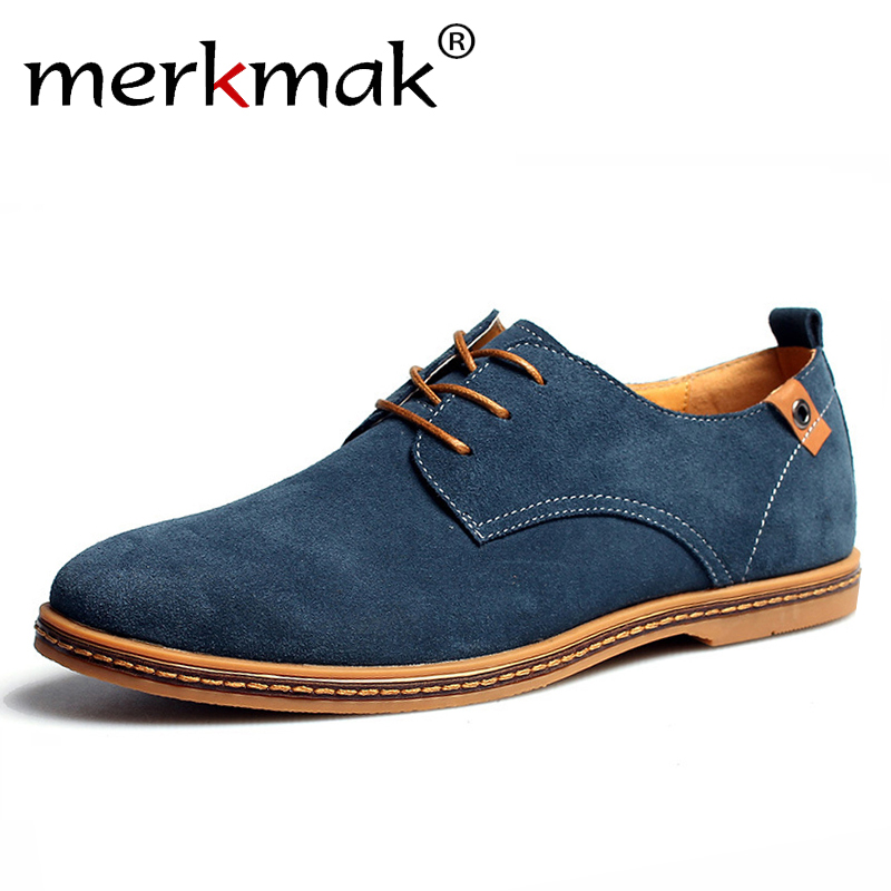 Merkmak   Suede   Men   Leather   Shoes Solid Lace-up Big Size 38-48 Casual Shoes Men's Flats Comfortable Dress Shoes Male Soft Footwear