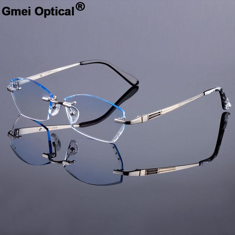 Extravagant Men Titanium Alloy Glasses Frames Women Rimless Frame Diamond Trimming Cut Rimless Glasses With Gradient Tint Lenses