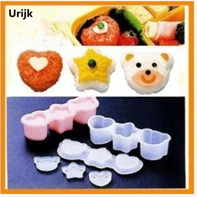 Urijk Boutique Cute Smile Bear Star Heart Shape Sushi Nori Rice Mould Decor Cutter Bento Maker Sandwich DIY Tool
