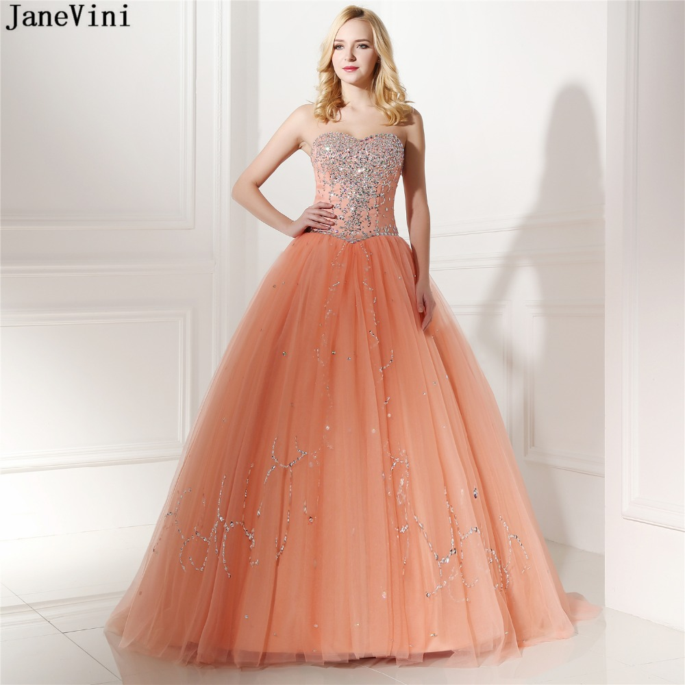 JaneVini Charming Ball Gown Long   Bridesmaid     Dresses   2019 Sweetheart Sleeveless Beading Backless Girls Pageant Tulle Formal   Dress