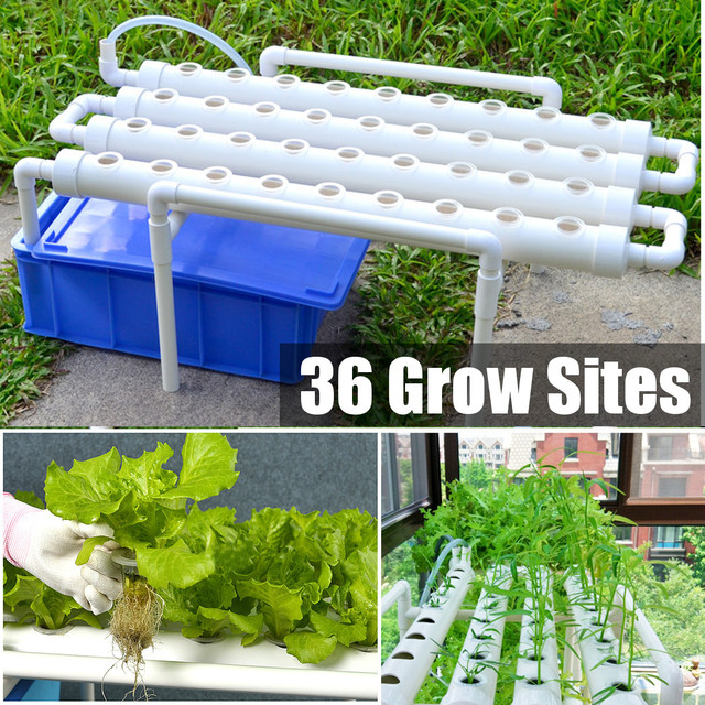 36 Sites 4 Pipes Hydroponic Grow Kit Plastic 1 Layer Garden Grow