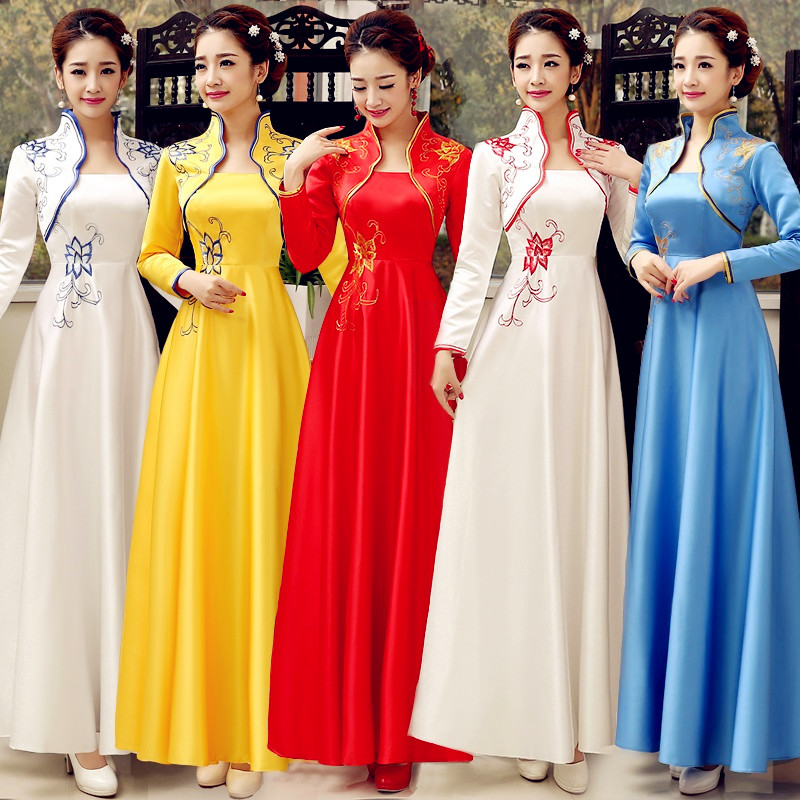 Autumn Winter New Women Embroidery Flower Satin Cheongsam Chinese Bride Wedding Dress Long Sleeve Evening Qipao Party Gowns
