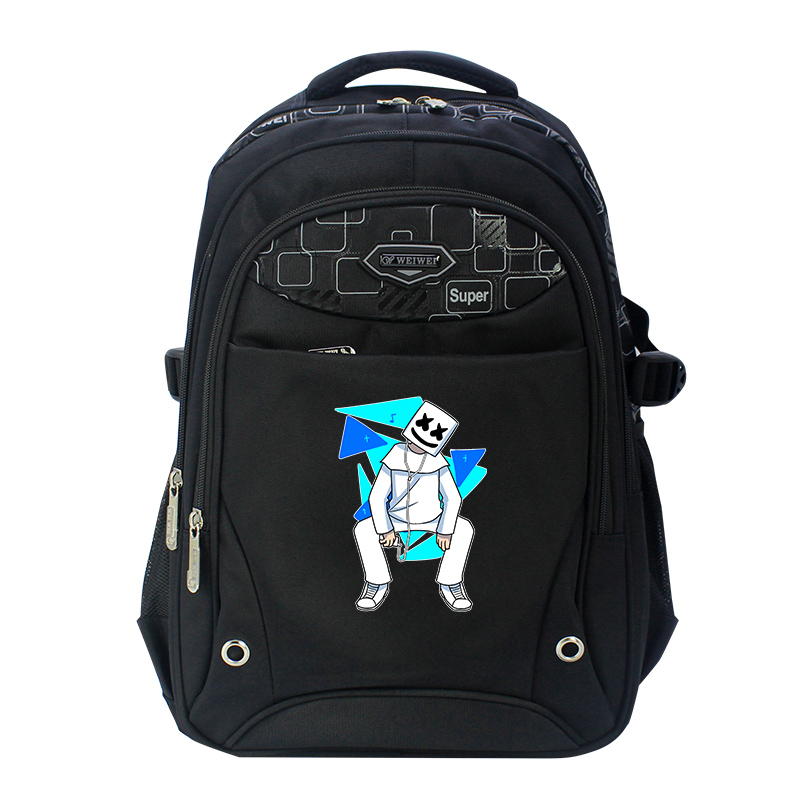 Marshmello BLACK Oxfords Anime Backpack Mochila Femina School Bags Laptop Backpacks for Teenage Girls boys men backpack student school bag for teenager boys large capacity trip backpacks laptop backpack for 15 inches mochila masculina