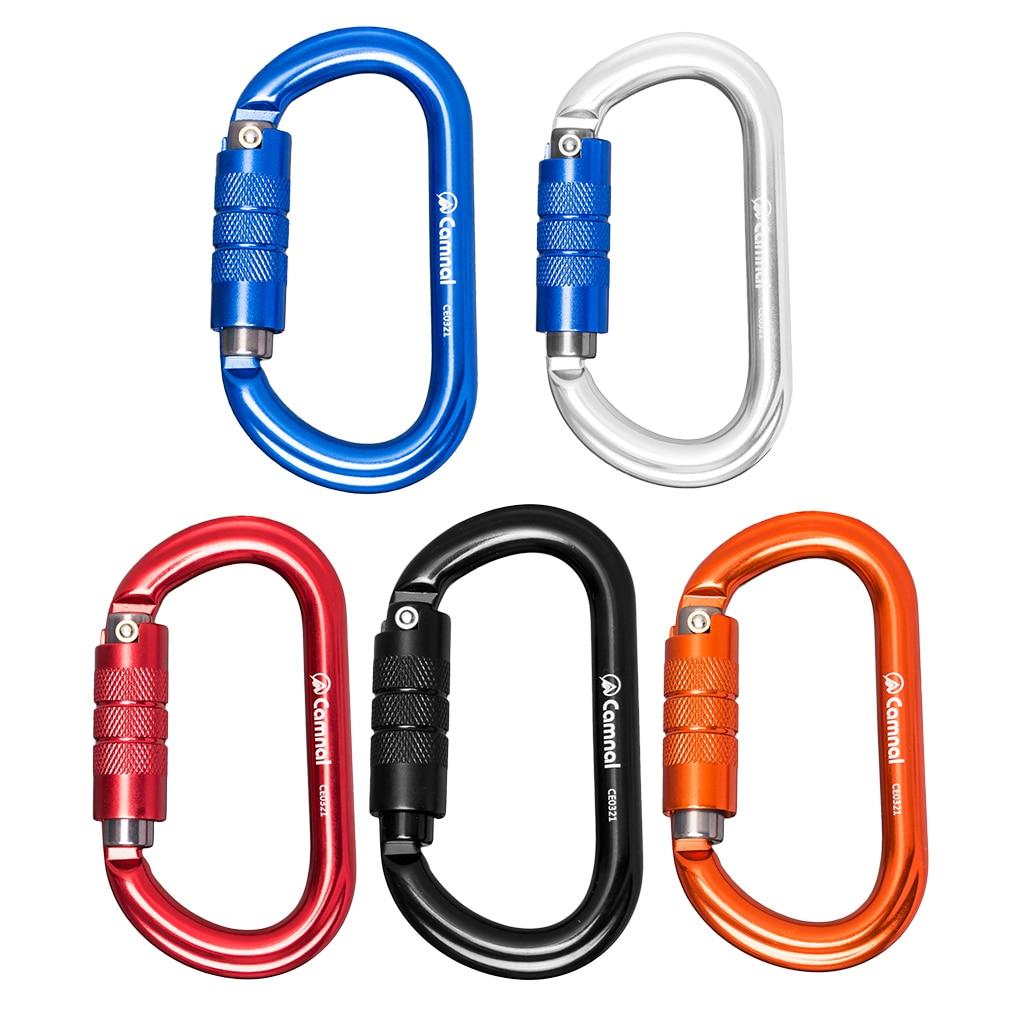 5 pièces mousqueton à pression en aluminium escalade Sport D anneau porte-clés Clip porte-clés alpinisme randonnée Camp escalade accessoires