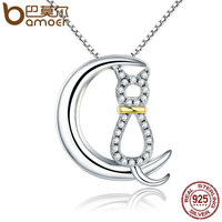BAMOER Hot Sale Authentic 925 Sterling Silver Fashion Moon Cat Women Necklaces Clear CZ Luxury Sterling