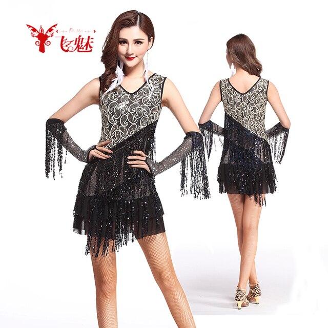 e70c6c64fd2e Abbigliamento donna paillettes Frange vestito da ballo Latino skirt +  guanti   2 vestito femminile
