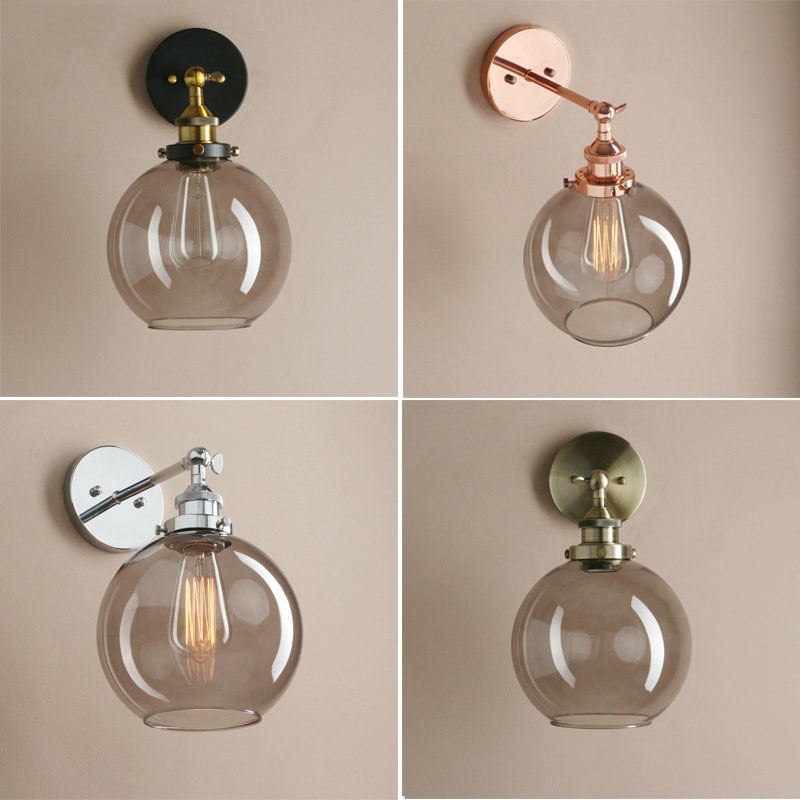 Vintage Glass Ball Wall Light American Country Style Bedside Wall Lamp E27 Modern Glass Wall Sconce Lighting FixtureVintage Glass Ball Wall Light American Country Style Bedside Wall Lamp E27 Modern Glass Wall Sconce Lighting Fixture