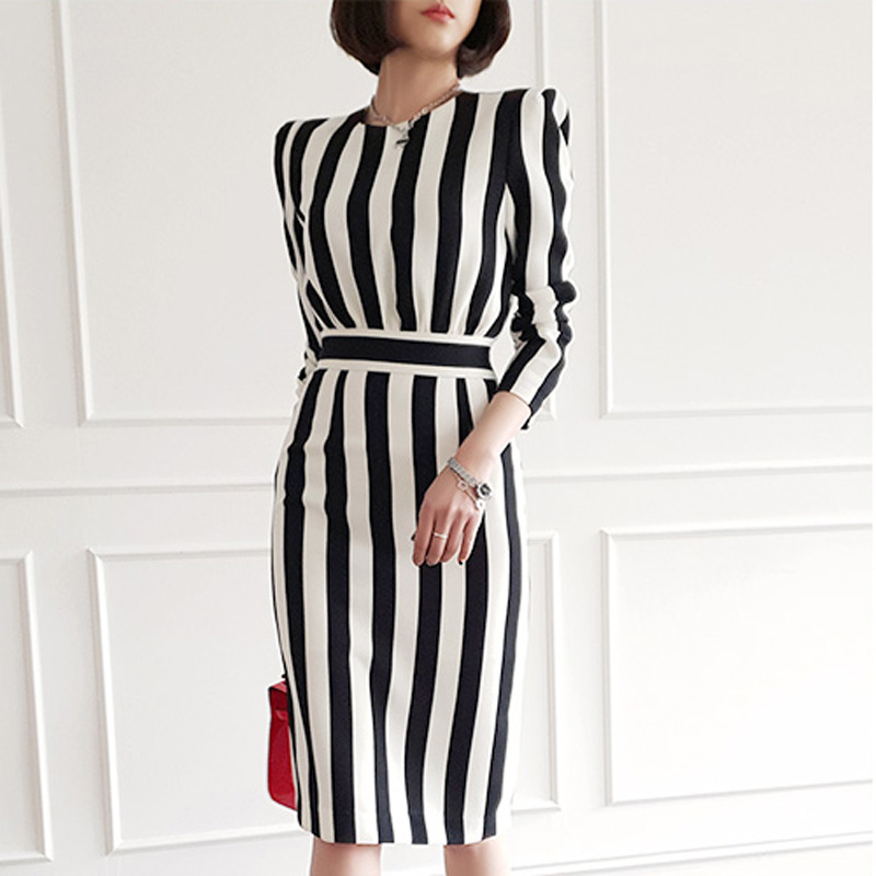 Women Elegant Office Lady Striped Dress 2019 Spring Summer  O Neck Knee Length  Style Work Dress