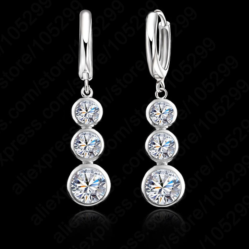 JEMMIN New Arrival Good Selling S90 Silver Color Earring Round Pendant For Women Ladies Good Cubic Zirconia Crystal JewelryJEMMIN New Arrival Good Selling S90 Silver Color Earring Round Pendant For Women Ladies Good Cubic Zirconia Crystal Jewelry