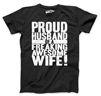Crazy Dog T Shirts Mens Proud Husband Of A Freaking Awesome Wife Funny Marriage T Shirts
