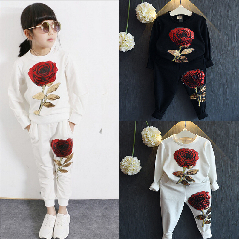 Pants Clothes Set 2PCS Kids Girl Tracksuit Outfits Long Sleeve T-shirt Tops