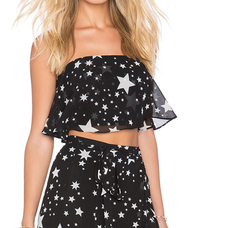 98390ebed20da Sexy Stars Printed Crop Tops Women 2017 Black Strapless Backless Casual Ladies  Cropped Tank Top Short Party Tops Vest-in Tank Tops from Women s Clothing  on ...