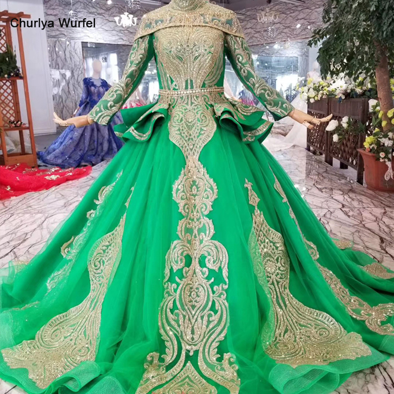 HTL063 green muslim   evening     dress   with detachable shoulder chain high neck long sleeves special women occasion   dress   court train