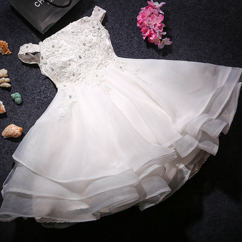 Hot Sale White Lace Bead Flower Girl Dresses for Wedding Ball Gown Off Shoulder Holy Communion Dresses First Communion Dresses