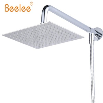 8/10/12  Square Wall Mount Rainfall Shower Head With Shower Arm Shower Hose Stainless Steel Chrome Finished