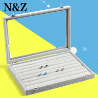 Hot selling Fashion 35*24CM Organizer Show Case Jewelry Display Rings Holder Box Earrings Ear Studs Ring Storage Display Boxes