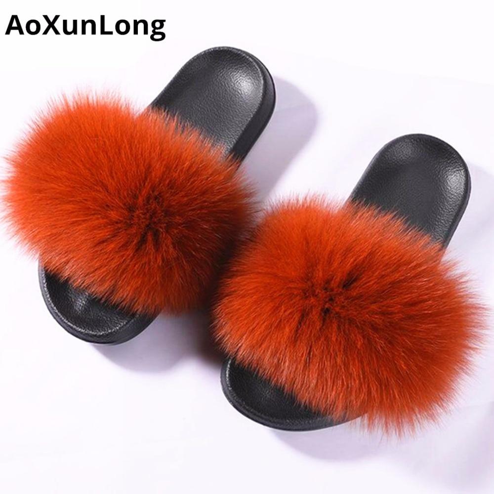 AoXunLong Hot Fox Fur Slides Nő Fox Fur Papucs Fox Fur Papucsok Női - Női cipő