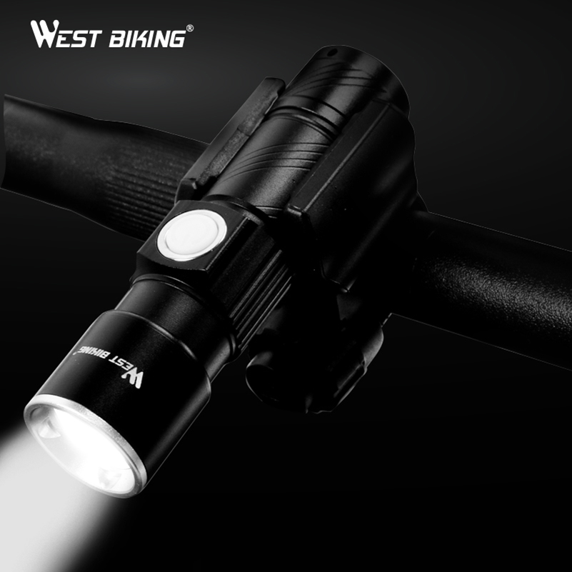 WEST BIKING Bicycle Light Stretch Zoom Q5 200m Cycling Front LED Flashlight Bike Lamp USB Rechargeable Bicycle Bike Light