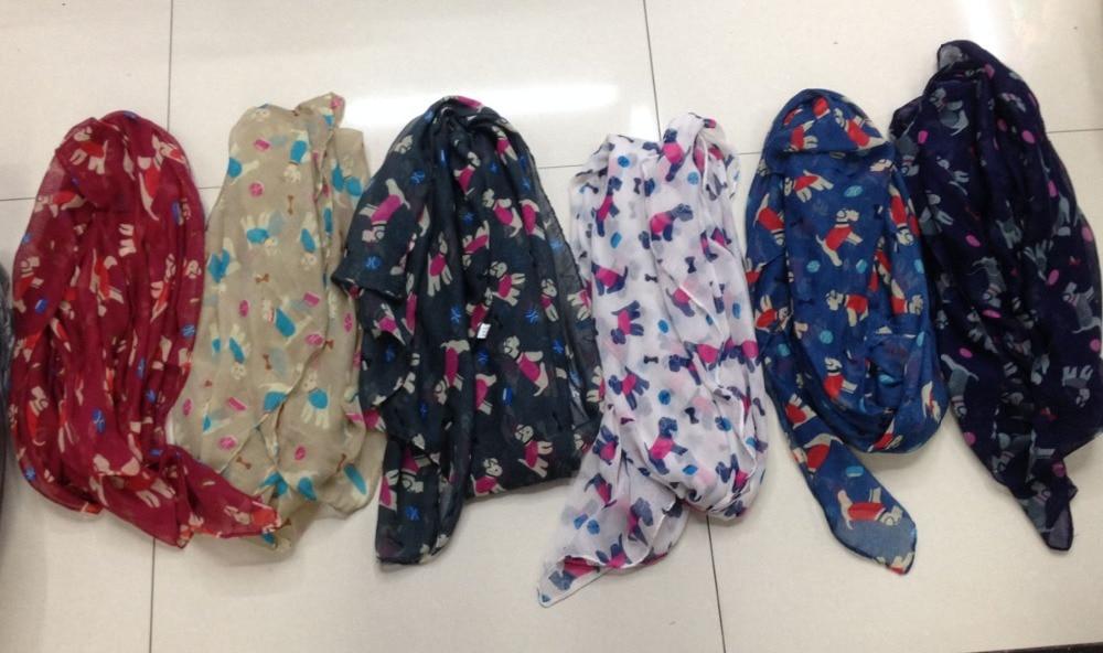 2015 nya söta Schnauzer Print Halsdukar Kvinnor Söt Wheaten Terrier Djur Halsduk Foulard Hijab Hundtryck Wraps Gratis frakt