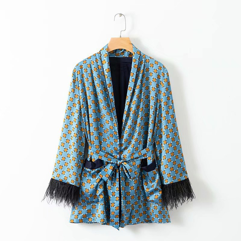 2019 New Arrival Blue Printed Kimono Jacket with Feather Sleeves Wide Leg Loose Cuasal Trousers Women Vintage Clothing Suits