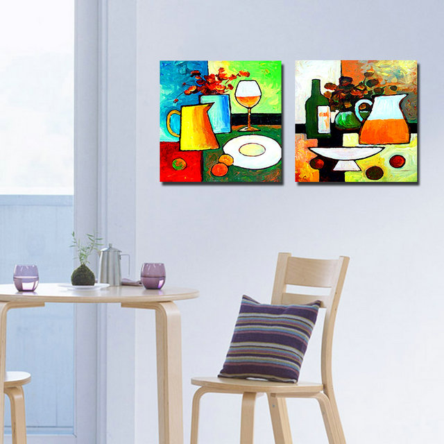 modern kitchen art blue rugs 2 panel paintings cuadros decoracion flowers cups wall pictures for living room no frame